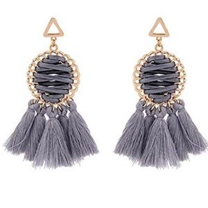 Jewelry - Gray Fan Tassel Statement Earrings